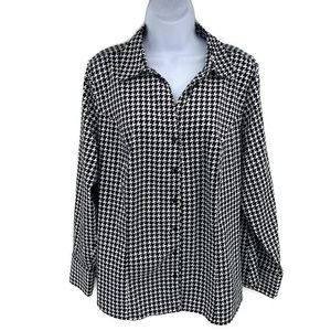 LANE BRYANT Button Front Long Sleeve Career Blouse